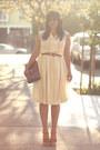 Light-yellow-vintage-dress-brown-vintage-bag-brown-vintage-belt