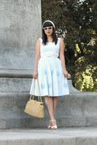 light blue vintage dress - camel vintage bag - white vintage heels