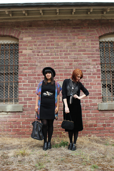 black vintage dress - black vintage hat - periwinkle thrfited blazer