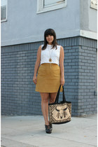 vintage skirt - vintage bag - vintage blouse - H&M heels - vintage accessories