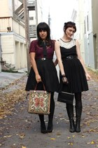 black vintage skirt - crimson vintage blouse - beige vintage bag - black H&M dre