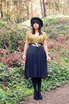 black vintage hat - black We Love Colors tights - black thrifted heels - mustard