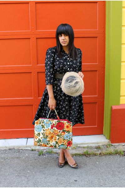 black vintage dress - beige vintage hat - ruby red vintage bag - army green thri