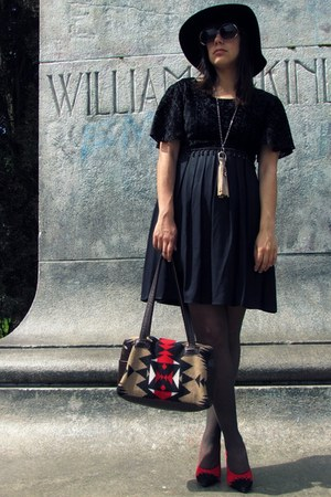 black thrifted dress - black vintage hat - black American Apparel tights - vinta