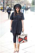 ivory vintage bag - black vintage dress - black vintage hat