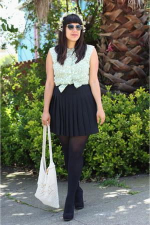 black thrifted skirt - black H&M tights - light blue vintage blouse