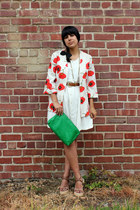 green vintage bag - off white vintage dress - beige vintage blazer