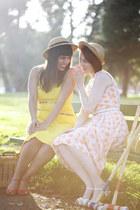 light yellow vintage dress - tan vintage hat - red vintage sandals