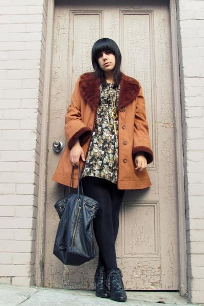dark brown vintage jacket - black vintage dress - black vintage accessories