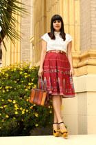 mustard lulus heels - bronze vintage bag - white vintage blouse