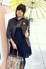 Black-aubergine-emporium-dress-dark-brown-thrifted-jacket-black-american-app