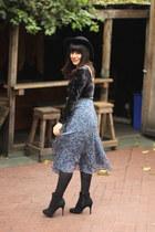 blue vintage skirt - black vintage hat - black vintage bodysuit