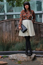ruby red vintage blouse - ivory vintage skirt - black vintage bag - black vintag