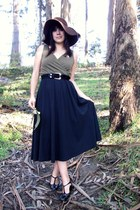 black thrifted dress - black vintage heels - black vintage belt - dark brown vin