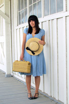 sky blue the gap dress - dark khaki vintage hat - dark khaki vintage bag - black