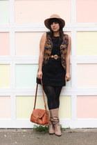 tan vintage boots - black thrifted dress - tan vintage hat - black American Appa