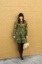 dark green vintage dress - brown vintage tights - gold vintage bag