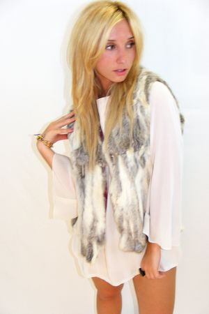 white vintage dress - gray vintage vest