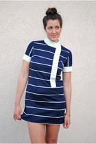 Navy 60s Mod Vintage Dresses