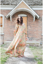 Salmon Long Paisley Vintage Dresses