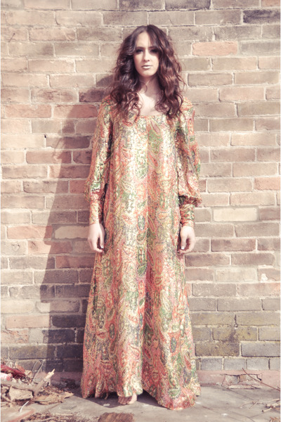 salmon long paisley vintage dress