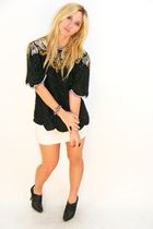 Black Sequin Vintage Laurence Kazar Top Tops White H&M Skirts Black BCBG Shoes