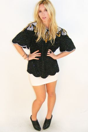 black sequin vintage Laurence Kazar top top - white H&M skirt - black BCBG shoes