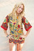 ruby red floral print vintage dress