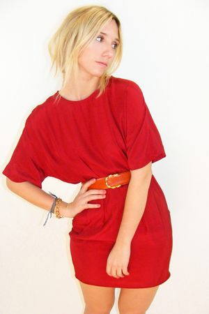 red vintage dress - orange vintage belt