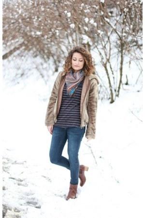 bronze Zara boots - navy Tally Weijl jeans - camel faux fur Bershka jacket