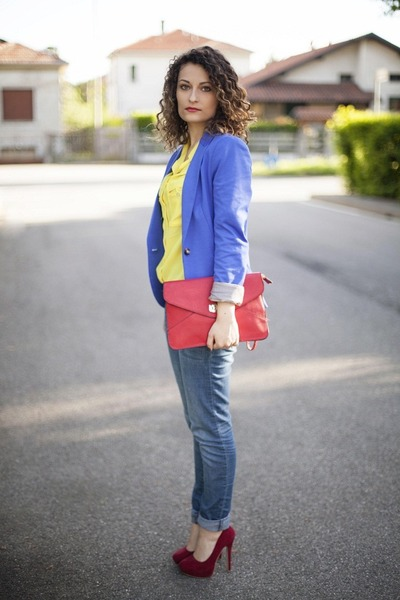 blue H&M blazer - yellow H&M shirt - red Accesorize bag
