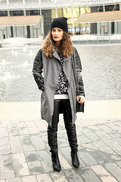 black H&M boots - gray leather asos coat - black Mango shirt