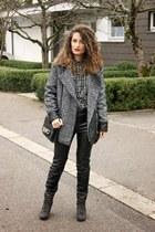 white heart H&M shirt - heather gray Mango coat - black H&M bag