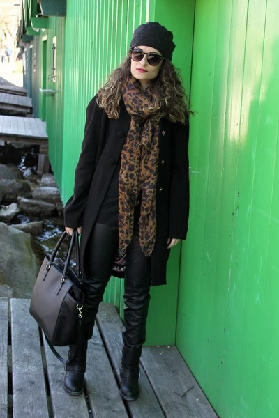 black Pimkie boots - black ovs coat - brown leopard print Accessorize scarf