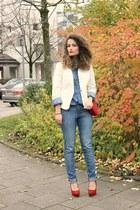 sky blue Alcott jeans - white Bershka blazer - turquoise blue denim Alcott shirt