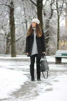 black knee high Forever 21 boots - black embroidered Ovs Industry coat
