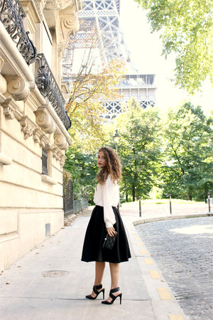black midi Forever 21 skirt - white Mango shirt - black Pimkie heels