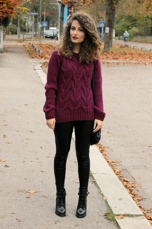black Chicwish boots - maroon Bershka sweater