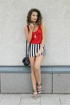 white striped PERSUNMALL skirt - black Bershka bag - black Zara sandals