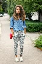 ruby red heart H&M bag - turquoise blue denim Alcott shirt