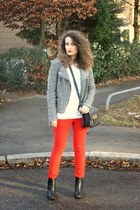 red Forever 21 pants - black H&M boots - heather gray Pimkie jacket