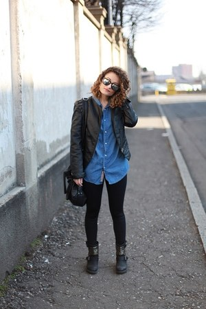 black studded leather BERSHKA jacket - black tezenis leggings