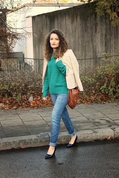 green Pimkie sweater - sky blue Tally Weijl jeans - cream Bershka blazer