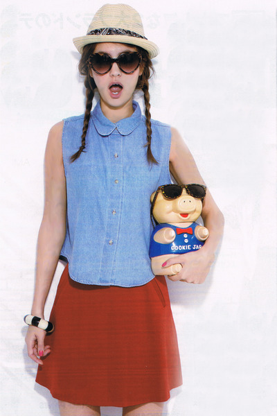 denim American Apparel shirt - straw The Fedora hat - arl rich skirt