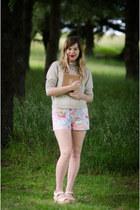 light pink vintage romper - beige woolen vintage sweater