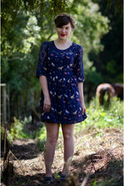 navy pony print dress - navy tassel Wanted Shoes loafers