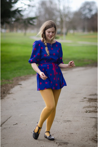 navy polka dot thrifted vintage dress - mustard mustard foot traffic tights
