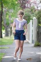 navy sailor thrifted vintage top - navy denim pepa loves shorts