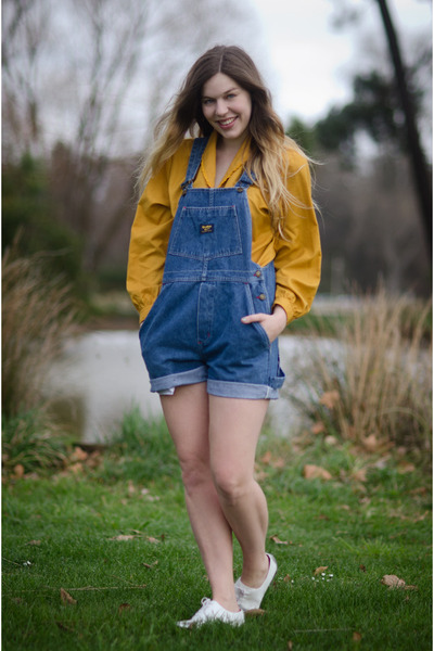 mustard mustard thrifted vintage blouse - blue romper vintage romper