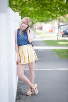gold gold pepa loves skirt - blue vintage top - beige Lotta from Stockholm clogs